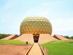 The Matrimandir of Auroville;  Wikipedia (Santosh Namby Chandran)