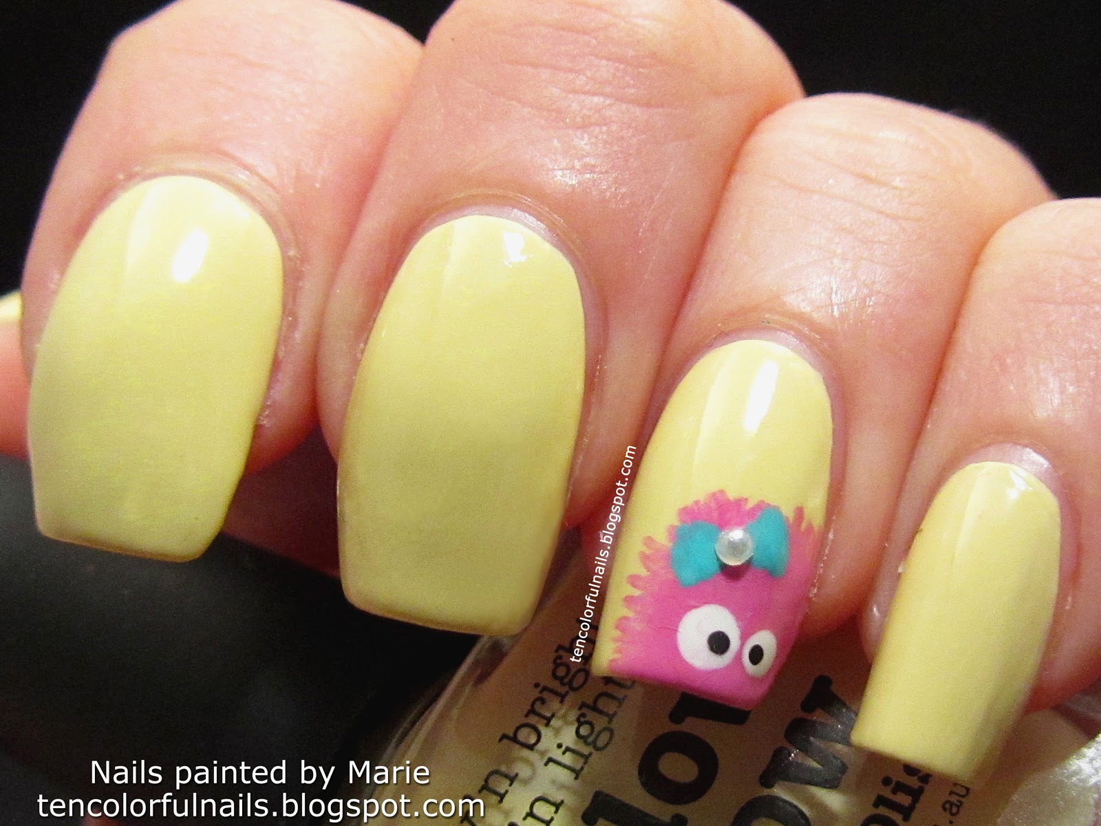 Ten Colorful Nails Girly Monster Nail Art Tutorial