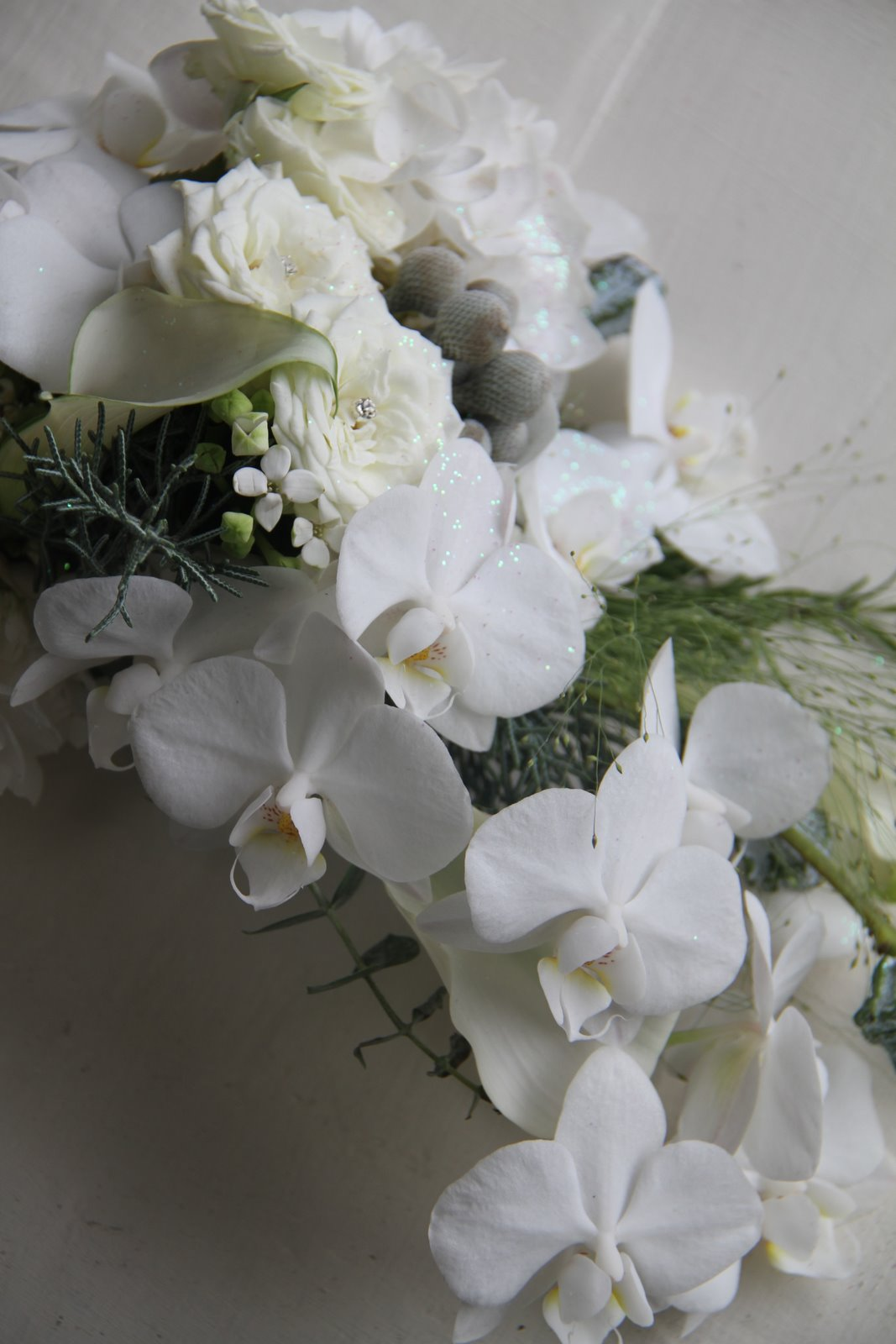 The flower magician november 2011 gorgeous wedding bouquet of phalaenopsis orchids bouvardia crystal blush calla lilies roses eucalyptus globus and champagne grass mightylinksfo