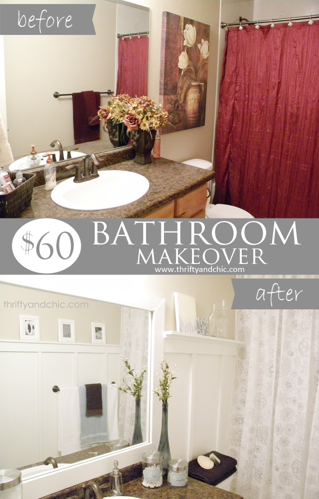 Bathroom Makeover for only $60! Lots of DIY projects and tips