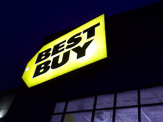 Best Buy store sign at night