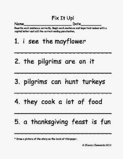 http://www.teacherspayteachers.com/Product/Fix-It-Up-Sentences-Thanksgiving-Freebie-Capital-Letters-and-End-Punctuation-967756