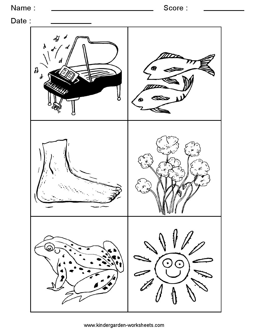 Kindergarten Worksheets: Alphabet Picture Cards - Alphabet Sorting