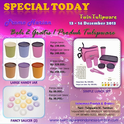 Promo Harian Twin Tulipware Desember 2013, Large Handy Jar, Fancy Saucer, Simple Lunch Set