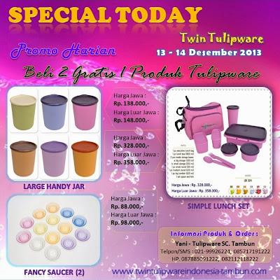 Promo Harian Twin Tulipware Desember 2013, Large Handy Jar, Fancy Saucer, Simple Lunch Set