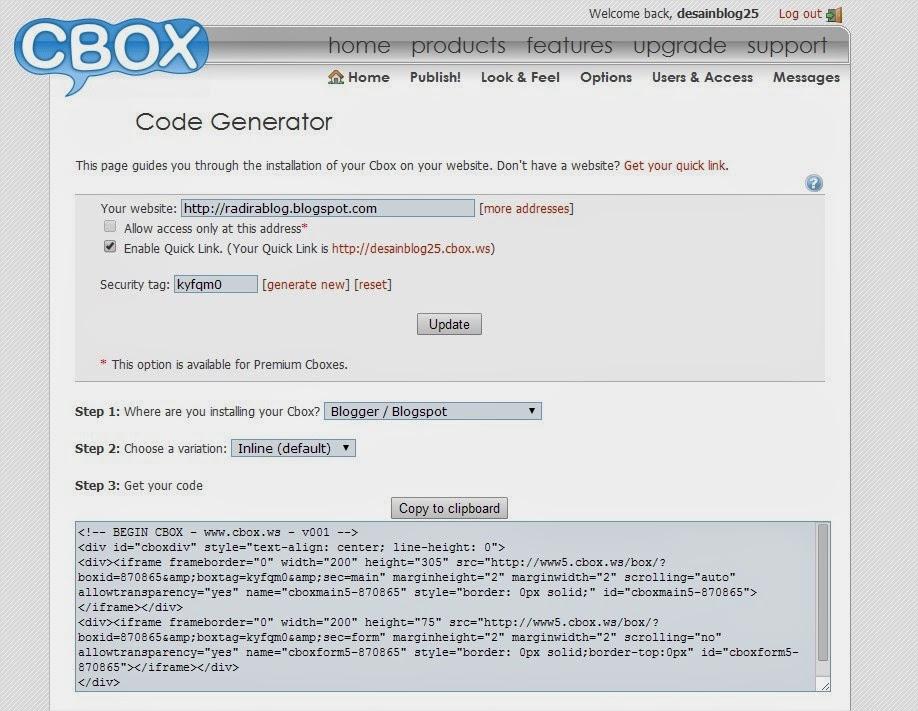 Cbox code generator