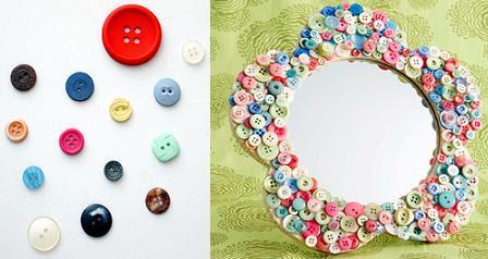 Espejo decorado con botones portal de manualidades - Espejos para manualidades ...