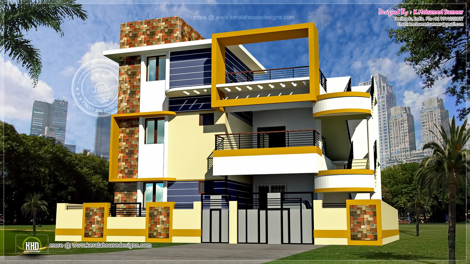 Modern 3 floor tamilnadu house design home kerala plans for Tamilnadu home design photos