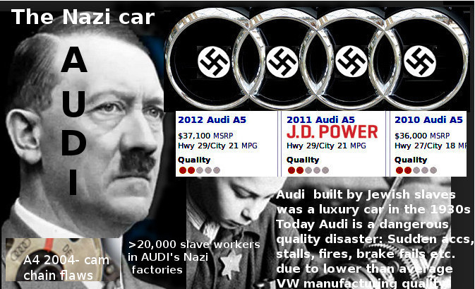 Nazi-muslim cooperation: Audi then built by Jewish slaves - today dangerous quality problems
