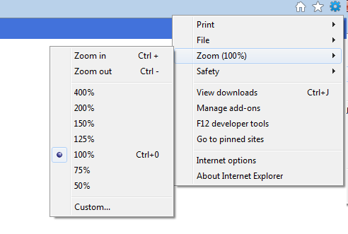 Infoview freezes zoom settings in IE9