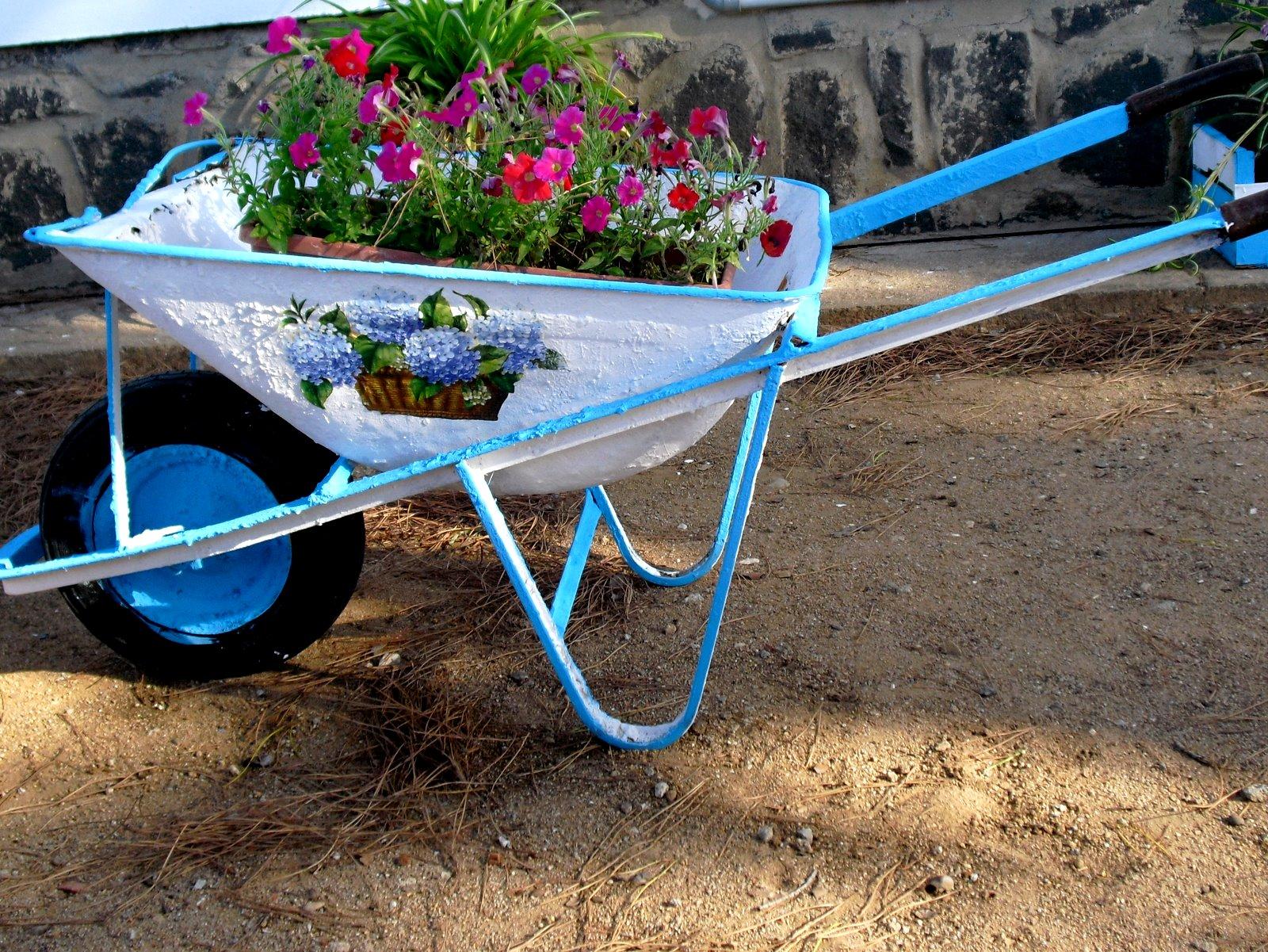 pittura sui sassi e altro vecchia carriola adesso fioriera