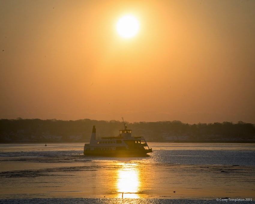 Portland, Maine March 2015 Casco Bay Lines ferry boat with sunrise photo by Corey Templeton