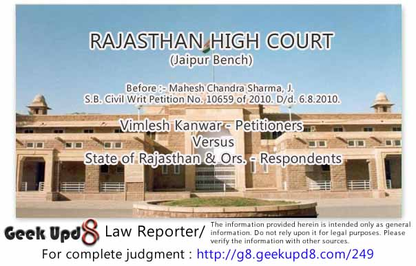 Rajasthan High Court - When the criminal proceedings (for investigation under Section 156(3) CrPC) are pending with the Judicial Magistrate, it will not be proper for the High Court to pass any order under Article 226 (seeking direction to register FIR) of the Constitution of India
