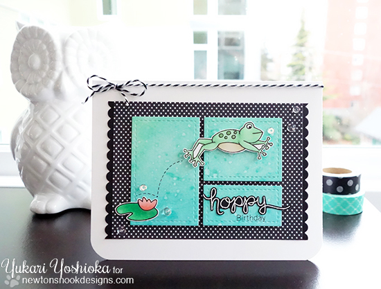 Frog Card by Yukari Yoshioka | Hoppy Days Valentine Stamp Set by Newton's Nook Designs #newtonsnook
