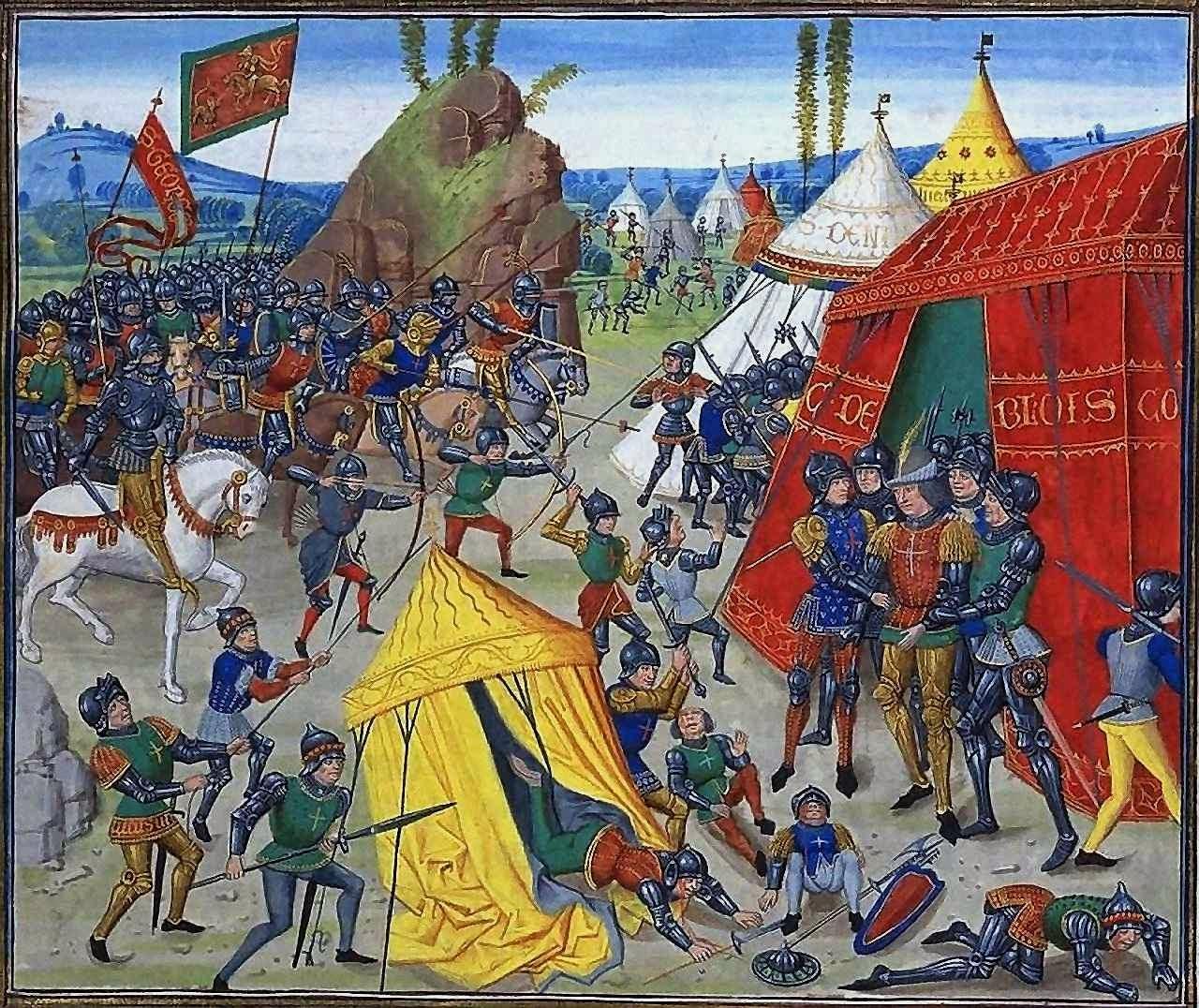 O Beato Charles de Blois é feito prisioneiro na batallha de la Roche-Derrien (1347).