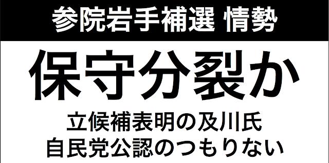 岩手県知事選後の参院補選の情勢が未だ定まっていない。そんななかで「保守分裂の可能性」を河北新報が2015年7月29日に報じている。