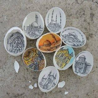 lukisan yang mengagumkan diatas kulit telur
