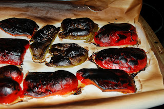 roasted red peppers before removing the skins