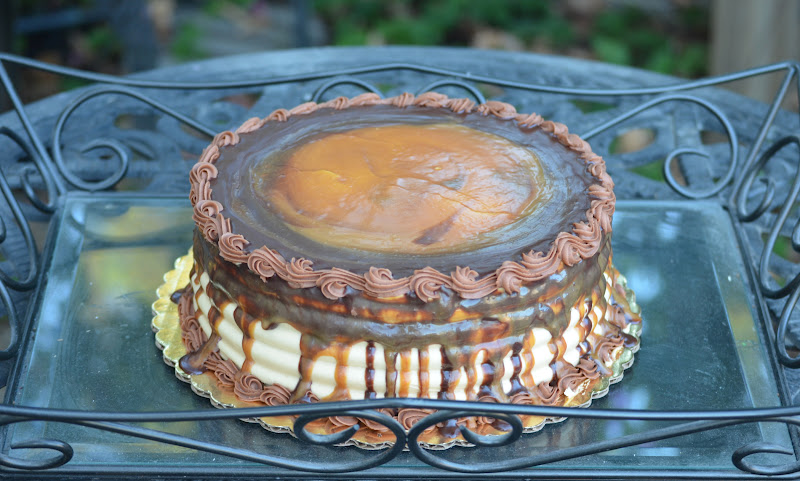 caramel swirl cake filled with chocolate buttercream caramel ganache