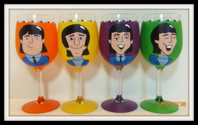 John Lennon, Ringo Starr, George Harrison and Paul McCartney hand painted wine glasses - www.kudoskitchenbyrenee.wazala.com