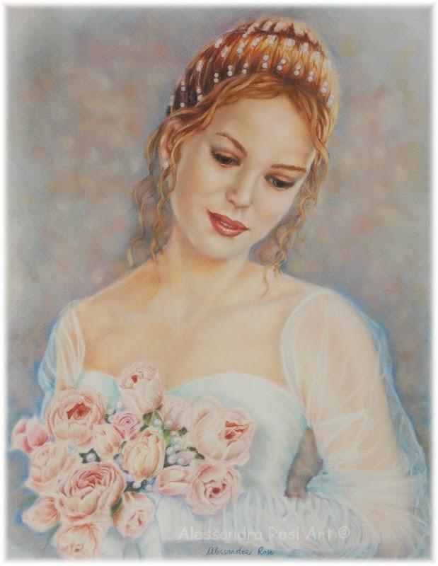 custom wedding portrait painting in pastel