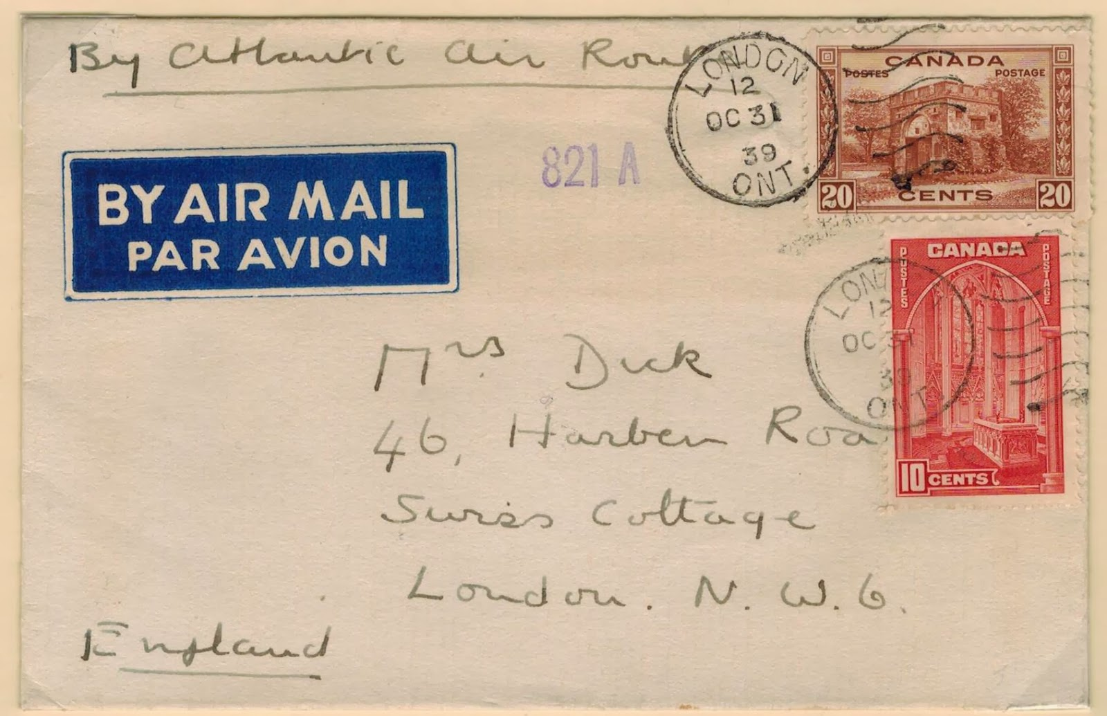 trans atlantic mail service between canada and britain was only inaugurated in mid 1939 from the late 1920s to 1939 air mail letters to the united kingdom