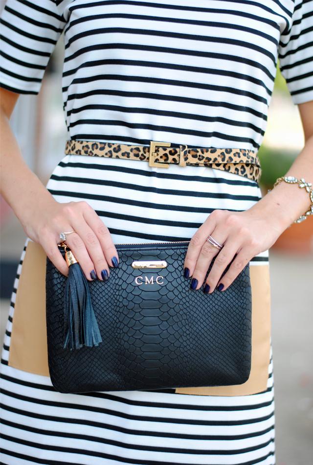 Add a leopard belt to a striped dress