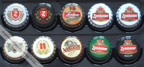beer caps collection - Zamkowe, Namysłów (all in export, pils, strong and unpasteurised versions)