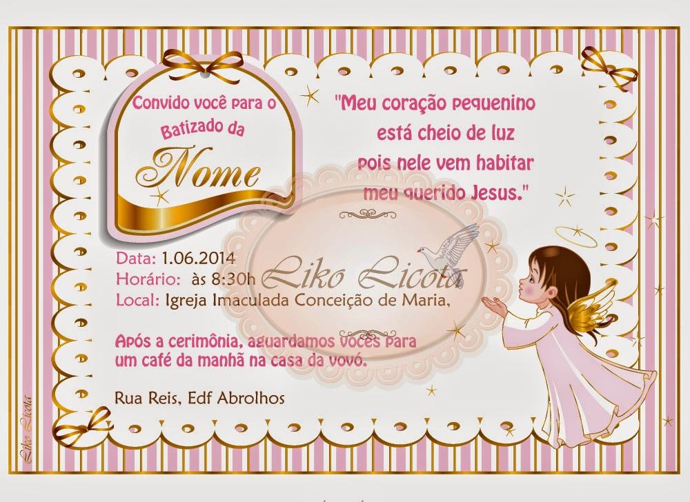 convite anjinho para batismo rosa e dourado