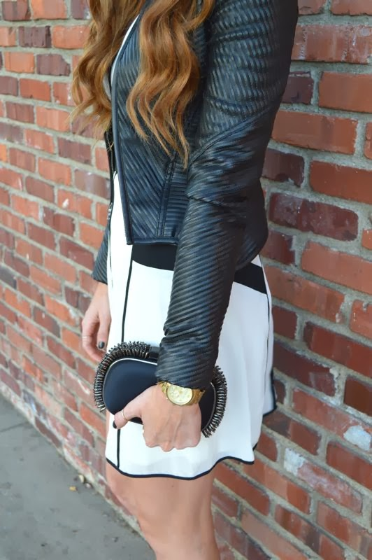 What To Wear To A Work Holiday Party- Holiday Outfits-LA Personal Style Blogger-Golden Divine Blog-Ashley Murphy-Lulus Dress- BCBG Leather Jacket-Ray Ban Sunglasses