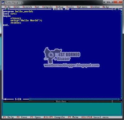 Contoh Penulisan Coding di Turbo Pascal