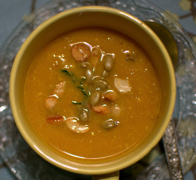pumpkin and coconut milk soup with lemongrass and kafir lime flavors....
