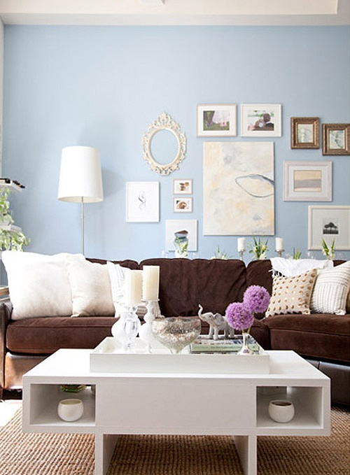 Simple details freshen up your old brown sofa for Brown couch living room