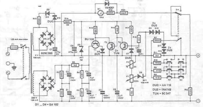 schema alimentation variable 10 300 volts