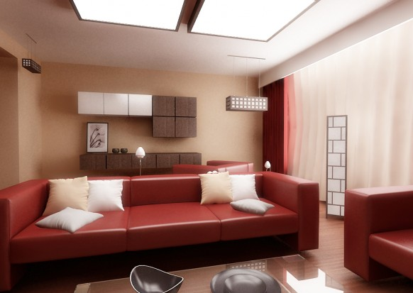 Fotos de dise os de salas en colores rojo y blanco c mo for Cream and red living room designs