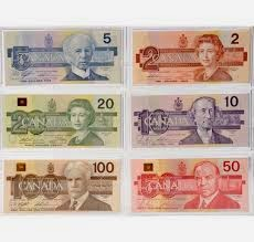 6 Canadian Bills-$2, $5, $10, $20, $50, $100