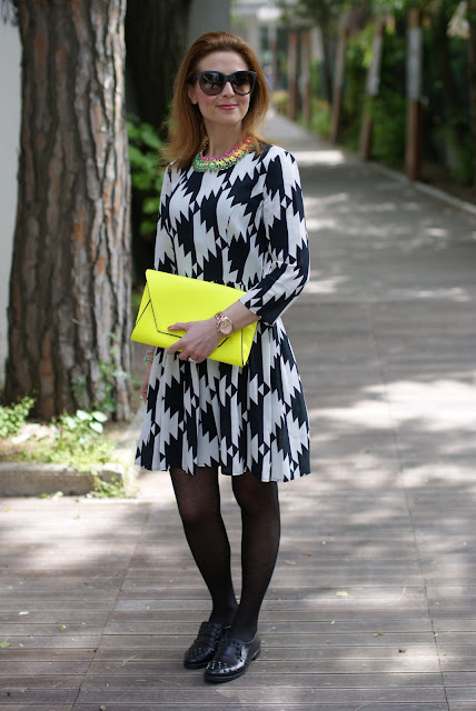 Asos black and white dress, studded loafers, Fashion and Cookies