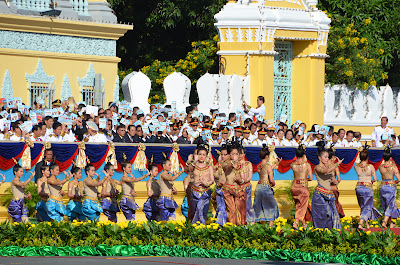Apsara dancers at birthday celebration for King Sihanouk, Phnom Penh, Cambodia