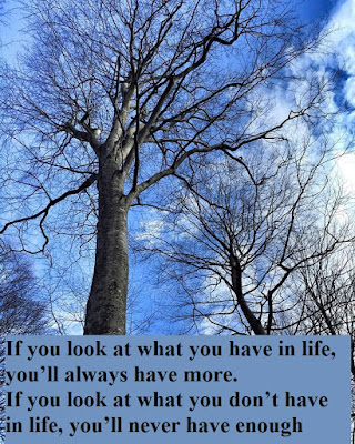 If you look at what you have in life, you'll always have more. If you look at what you don't have in life, you'll never have enough