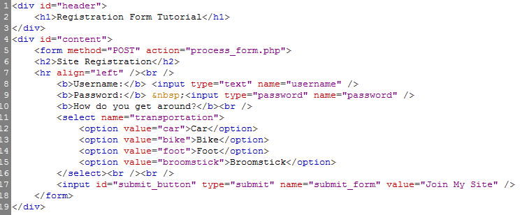registration form html code with php