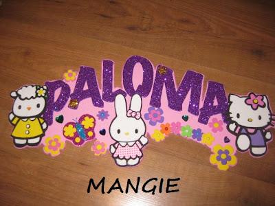 Letrero nombre goma eva de Hello Kitty