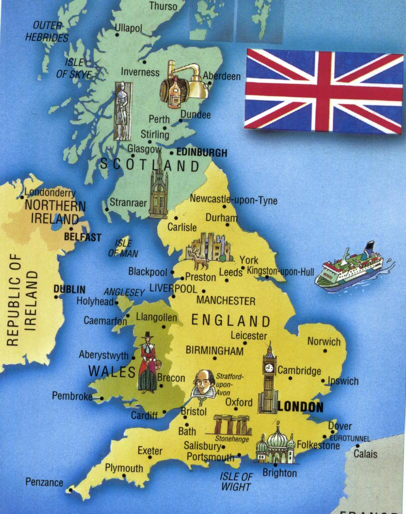 Map England Scotland Cities