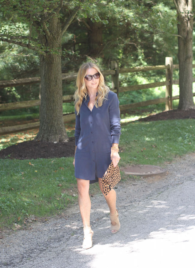 shirt dress, leopard clutch, aquazzura sexy thing heels, cat eye sunglasses
