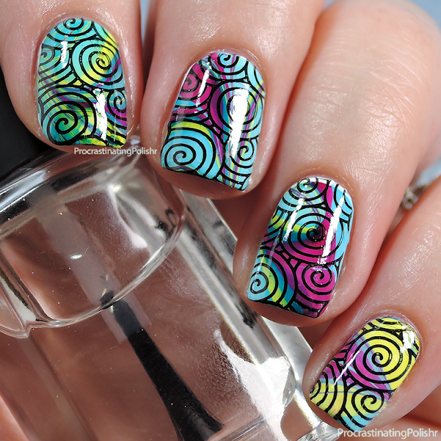 Best Nail Art of 2015 - Rainbow Water Marble & Stamped Swirls