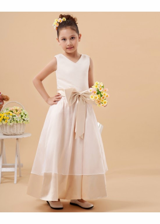 Vintage Satin Bowknot A-Line Sleeveless Flower Girl Dresses