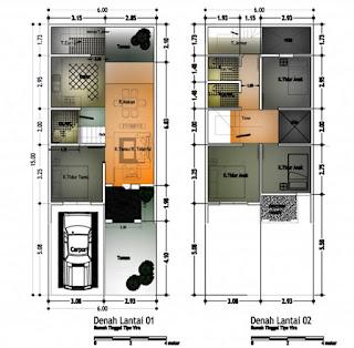 denah rumah minimalis 2 lantai type 45