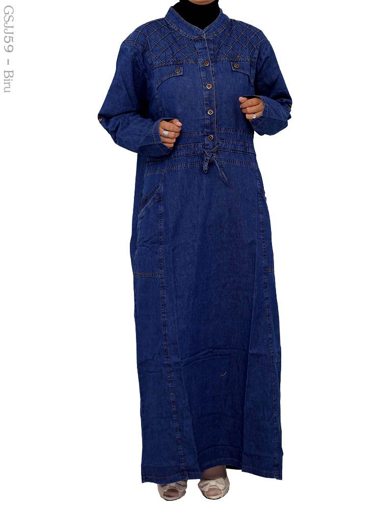 Gamis Jeans Jumbo Gsjj59 Busana Muslim Murah Terbaru