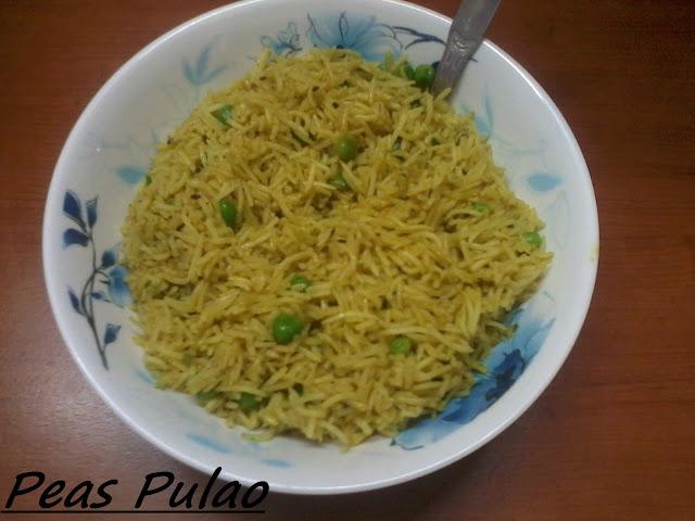 Peas Pulao In Microwave