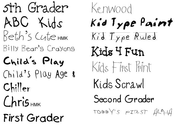 Kids Fonts For Web Templates