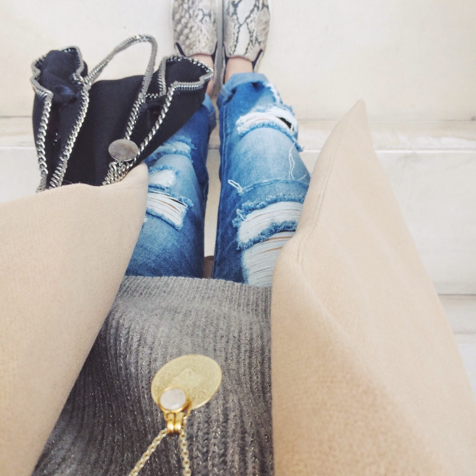 snakeskin print, slip ons, stella mccartney bag, stella mccartney falabella bag, all saints grey jumper, camel coat, miss selfridges camel coat, waterfall coat, from where i stand, fwis, streetstle